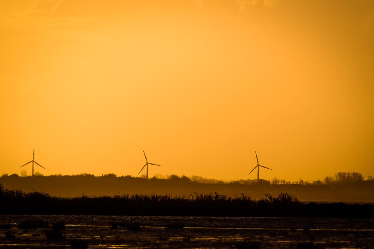 Vindmøller og solnedgang